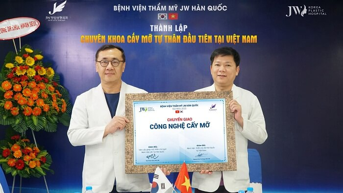 The signing ceremony of The Stem Cell Fat Grafting Method between Seul Chul-hwan PhD, MD and Nguyen Phan Tu Dung PhD, MD – Director of JW Korea Plastic Surgery Hospital, HCMC, Vietnam.
